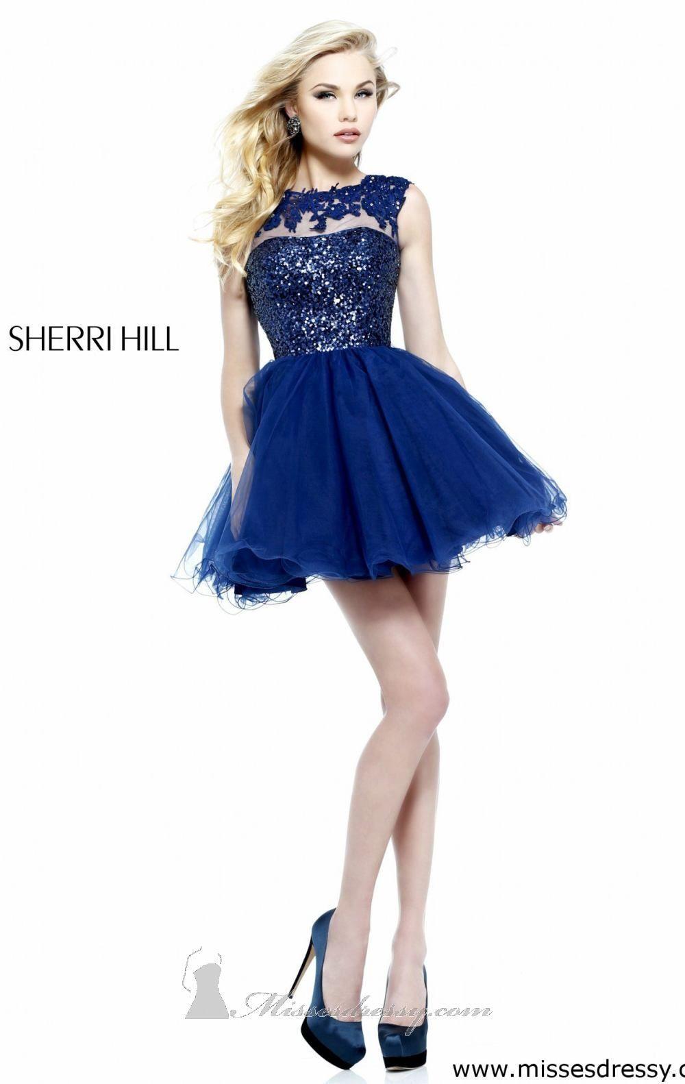 Embellished open back dress by sherri hill short formal dresses