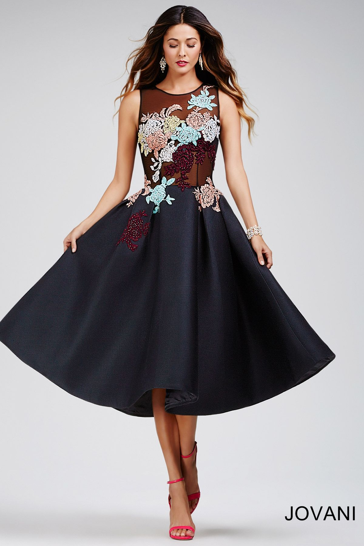 Black below the knee cocktail dress Платья pinterest