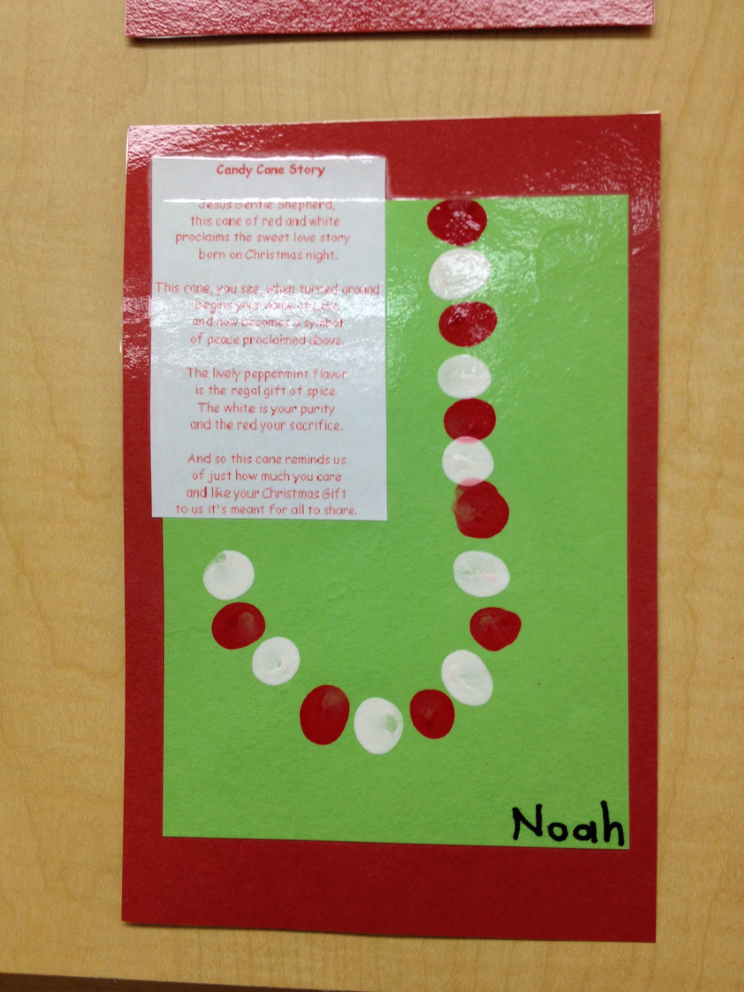 Candy Cane Story Finger Prints