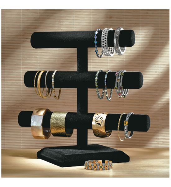 Velvet 3Tier Jewelry Stand protects and displays your jewelry on