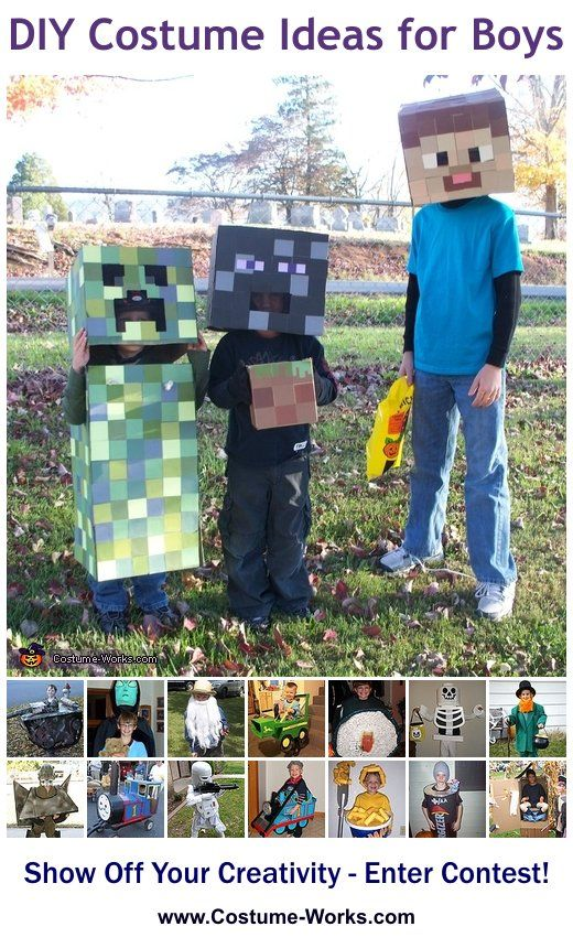 Homemade Costumes for Boys Diy costumes, Costumes and Boys - minecraft halloween costume ideas