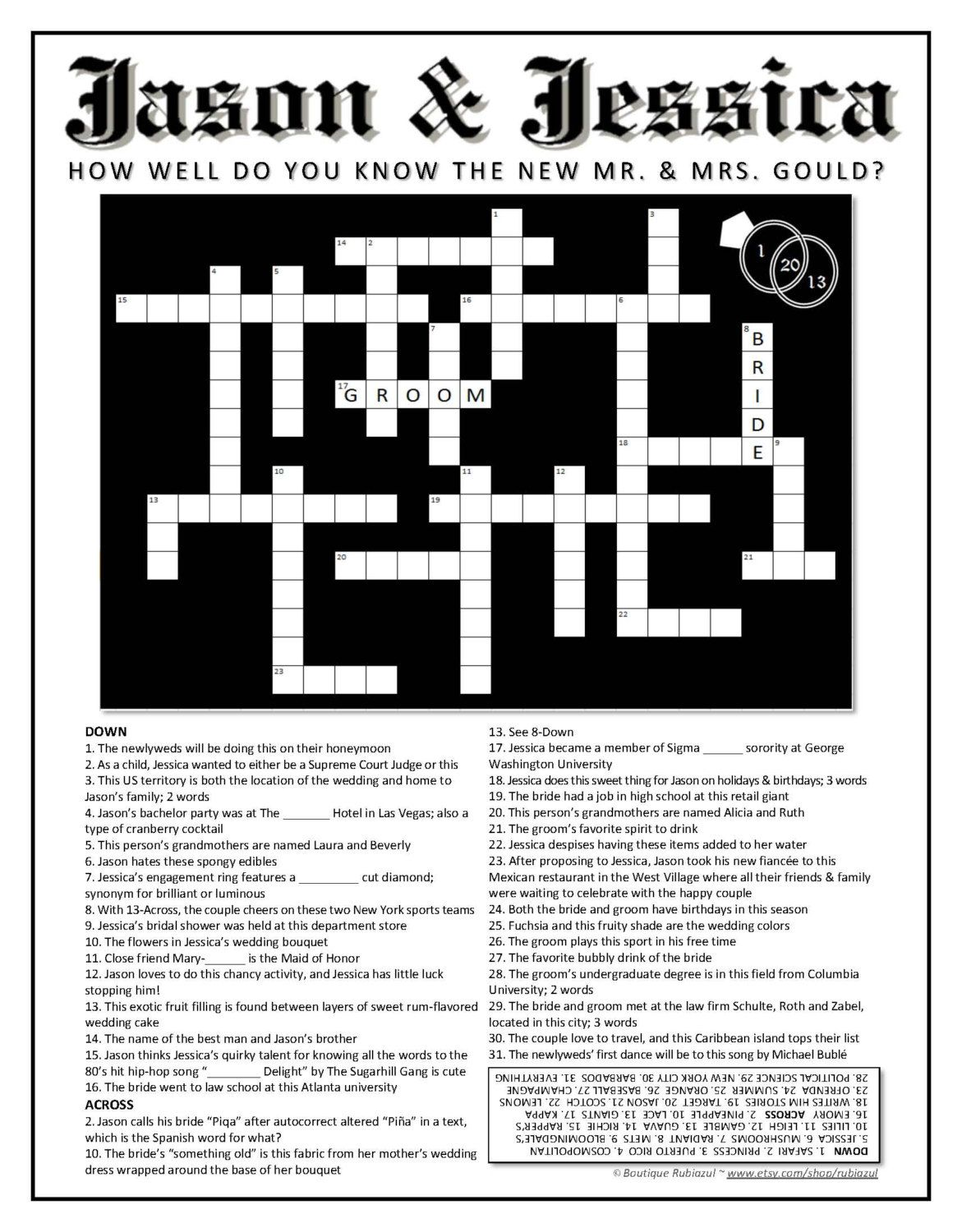 Customized Wedding Crossword Puzzle For Couples Use As A