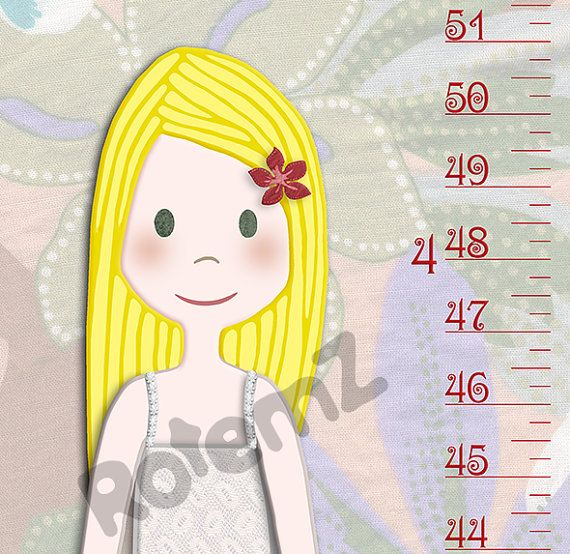 Girls Growth Chart in Canvas or Vinyl Height Chart Metric | Kid\'s ...