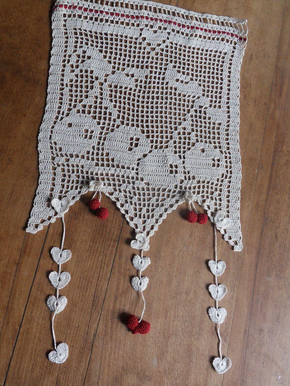 Rideau cerises et petit coeur ROUGES au crochet   Crochet ...