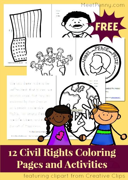 Civil Rights Coloring Pages And Activity Pack Linky King JrDr