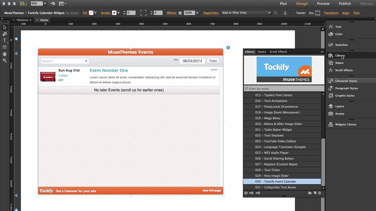 Creating An Event Calendar In Adobe Muse Cc  Tockify Widget By
