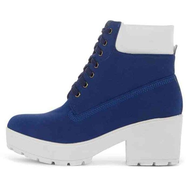Leora Cobalt Lace Up Boot (170 SEK) ❤ liked on Polyvore featuring shoes, boots, blue, platform shoes, lace up shoes, blue shoes, laced up boots and vegan shoes