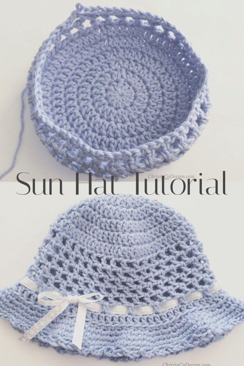 Crochet Toddler Sun Hat Photo Tutorial   Crochet baby hat patterns ...
