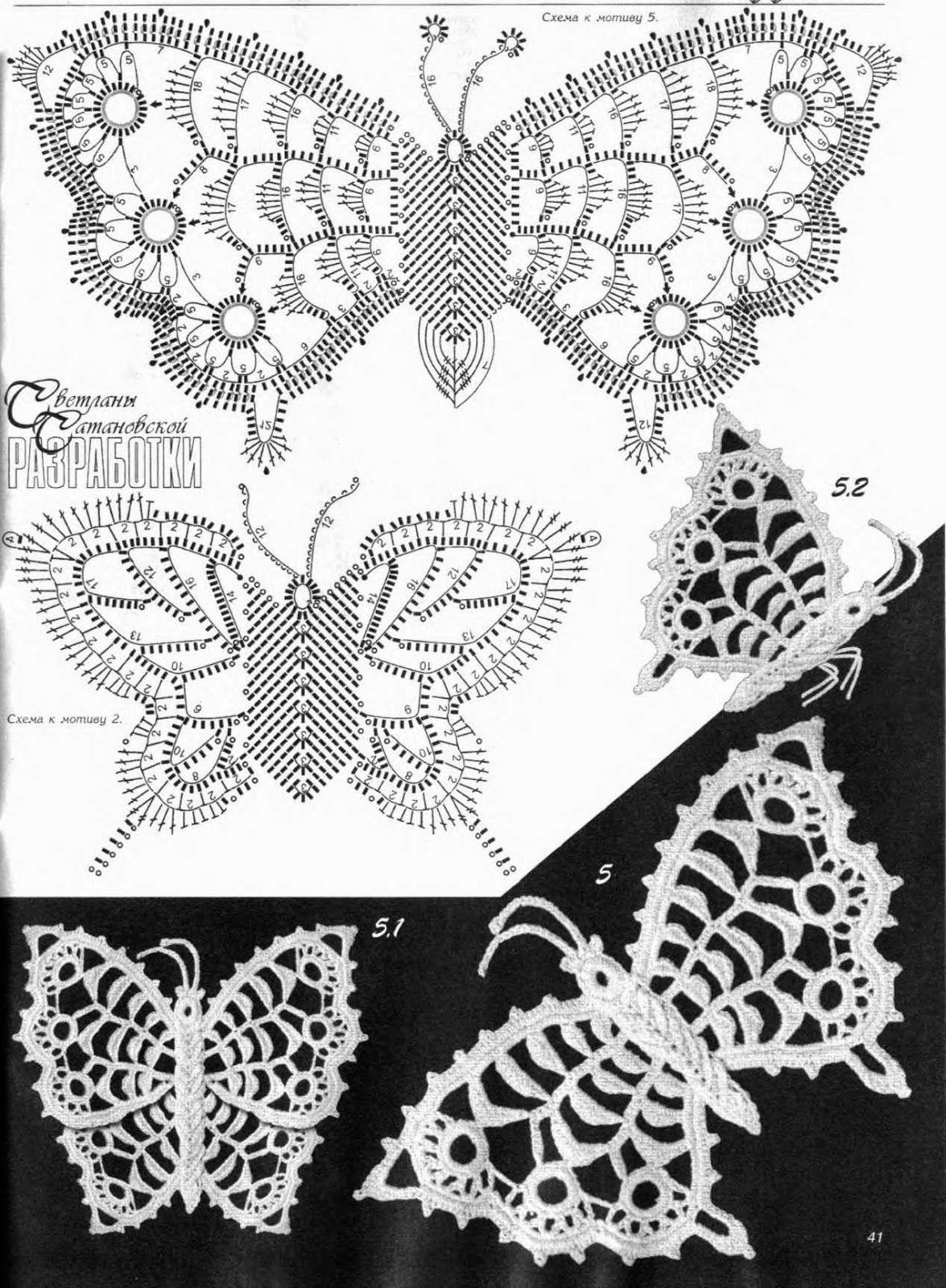 Mariposas crochet patron | mariposas y libélulas | Pinterest ...