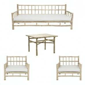 Bambugrupp Soffa 2 Fåtöljer Bord Home, Home decor, Furniture