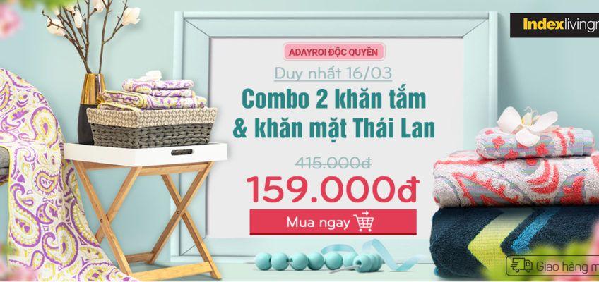 FLASH SALE COMBO 2 KHĂN INDEX LIVING MALL – Shop Mẹ Bốp