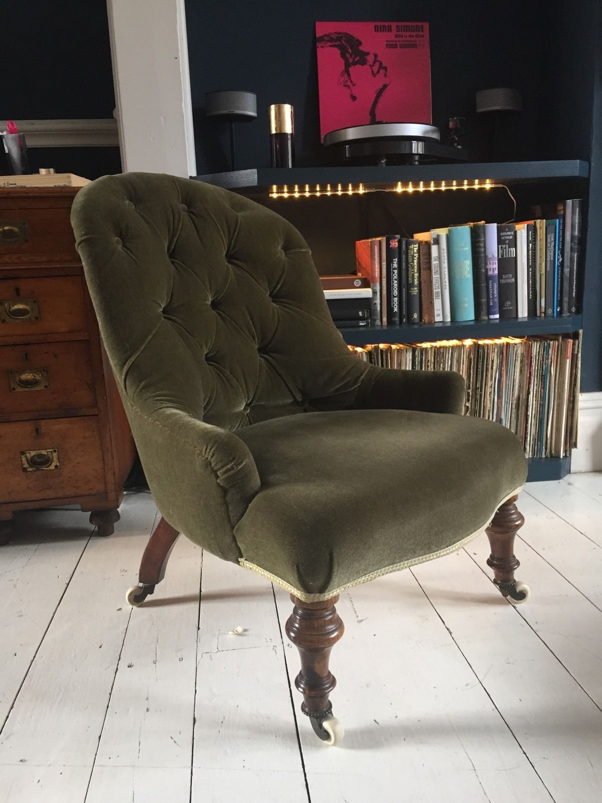 Beautiful Victorian Velvet Buttoned Back Nursing chair ...
