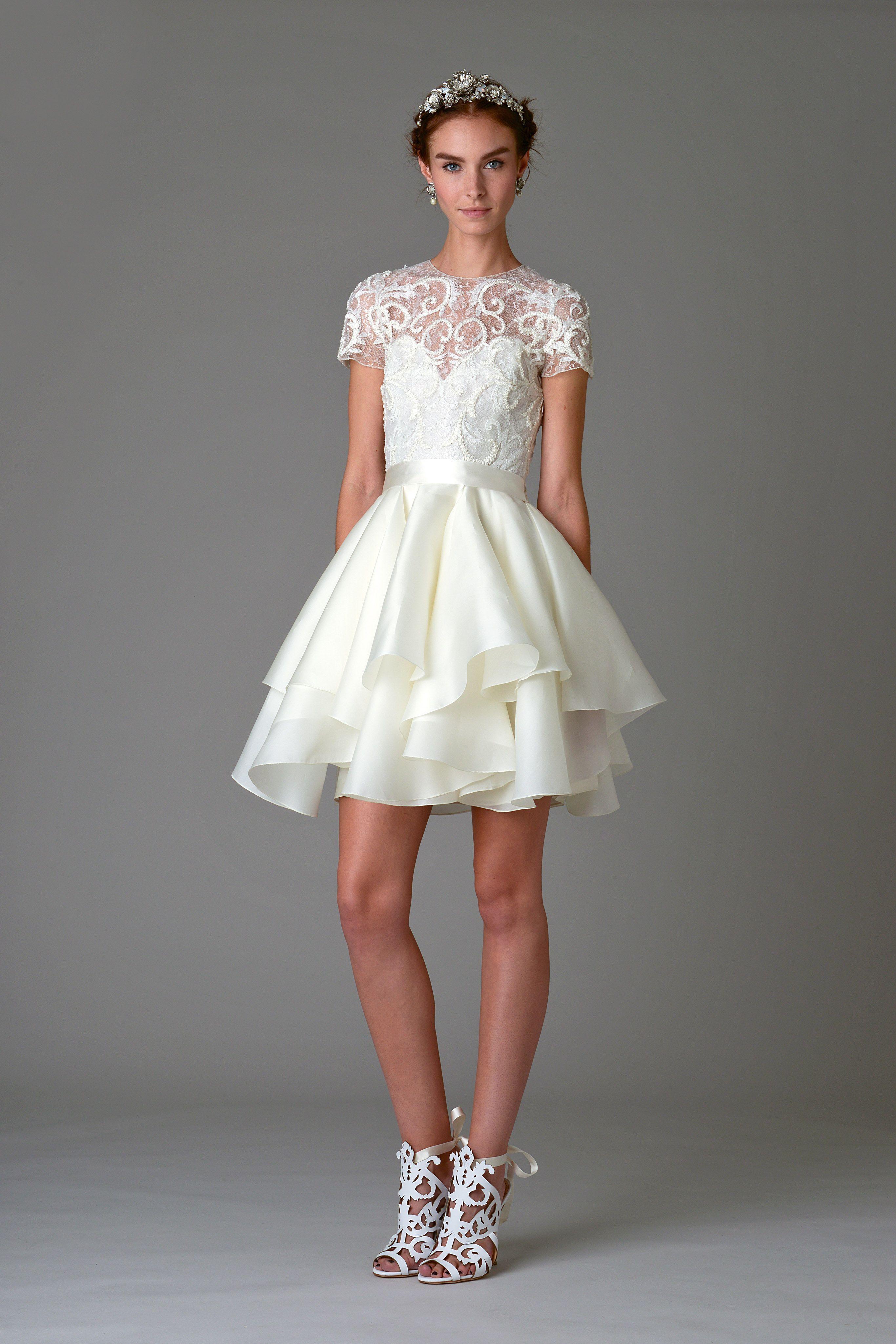 The Best Short Dresses At Bridal Fashion Week Short Wedding Dress Marchesa Bridal Bridal Fashion Week [ 4098 x 2732 Pixel ]