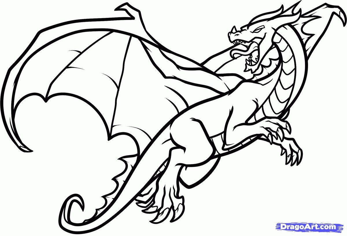 Dragon Coloring Pages Easy Flying Dragon Coloring Pages