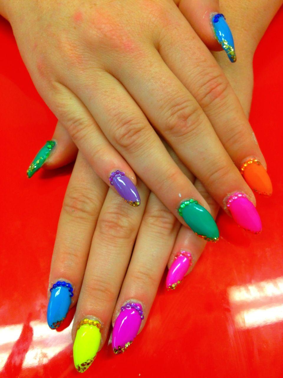 rhinestones 3d nail art design