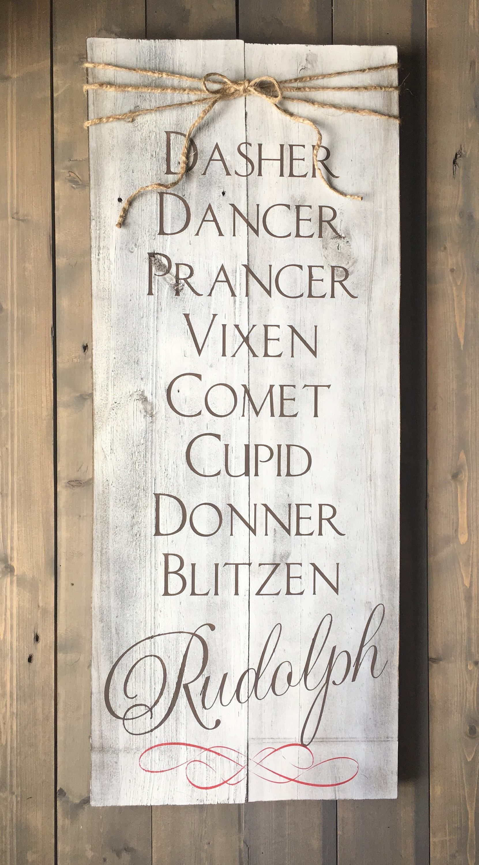 Holiday Merry Christmas Sign Plaque Reindeer Rustic Wood DASHER DANCER FEED CO