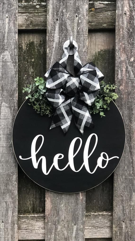 Photo of Hello Door Wreath, Front Door Decor, Black Door Hanger, Hello Door Hanger, Wreath For Front Door, Wood Door Sign, Round Door Hanger,