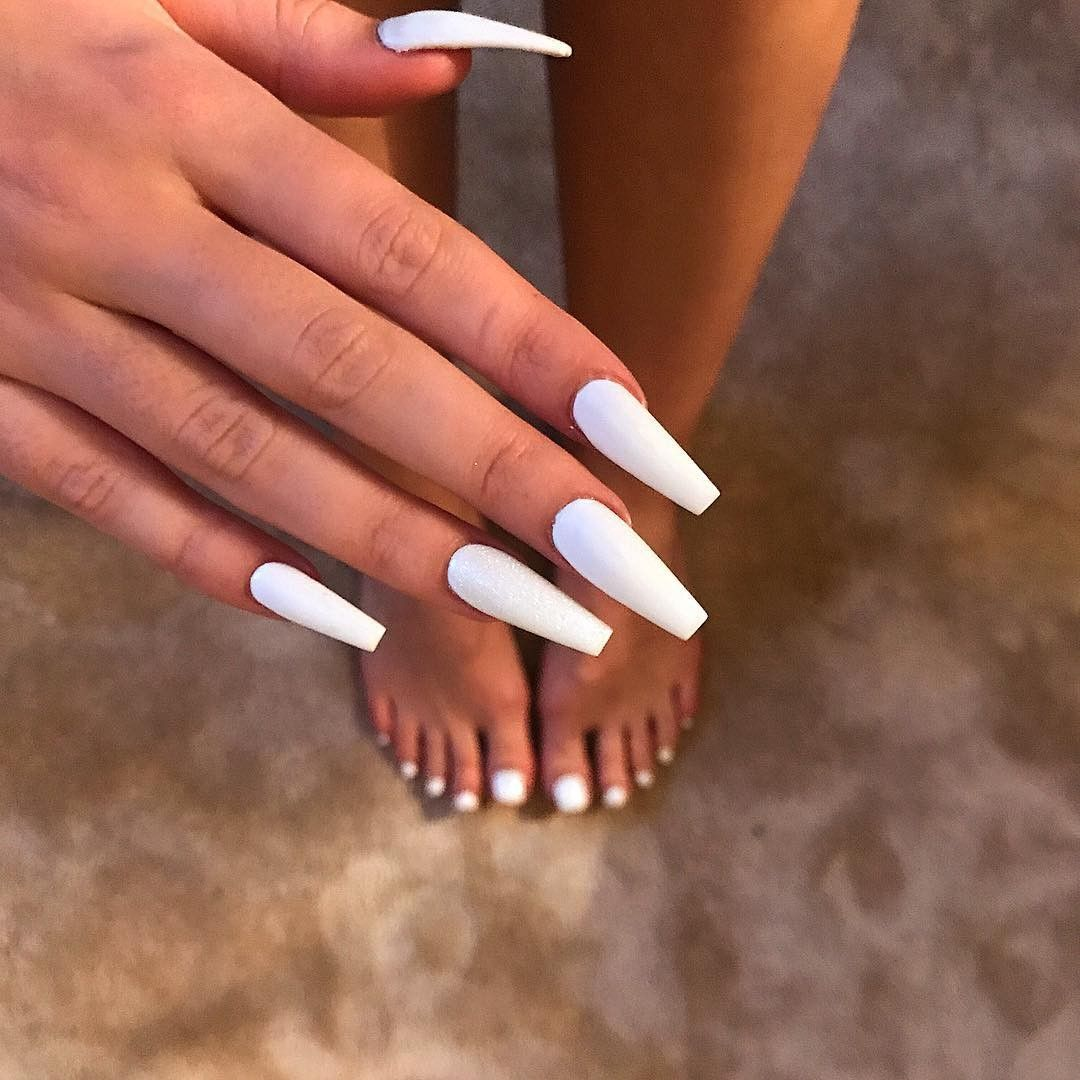 Xo100 Long Acrylic Nails Coffin White Acrylic Nails Acrylic Nails