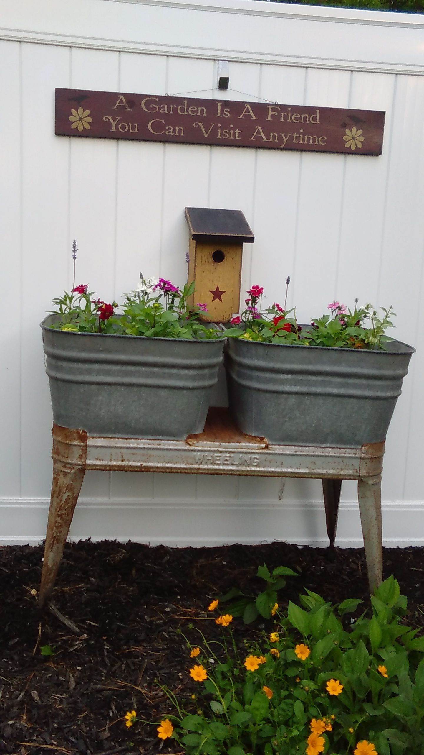 This Is My 2nd Double Wash Tub These Flowers Will Take Awhile To Fill In Vintage Garden Decor Galvanized Buckets Decor Wash Tubs