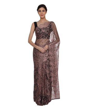 Sandy beige black french chantilly lace saree with satin crepe sandy beige black french chantilly lace saree with satin crepe blouse aloadofball Choice Image