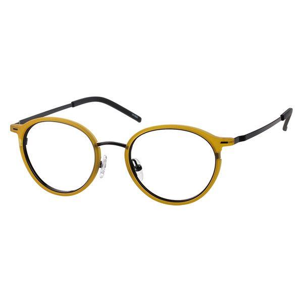 527be50138 Zenni Round Prescription Eyeglasses Yellow Mixed Materials 7810622 Glasses  Frames