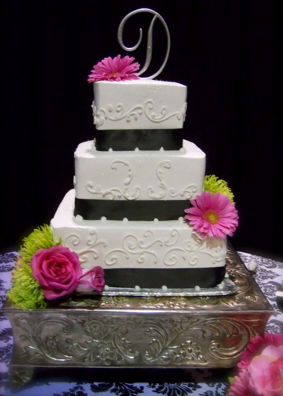 Pink Gerber Daises And Lime Green Mums On Wedding Cake