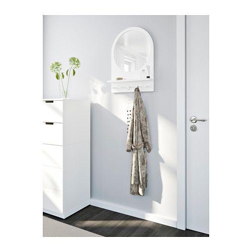 SALTRÖD Spejl med hylde og kroge - hvid - IKEA