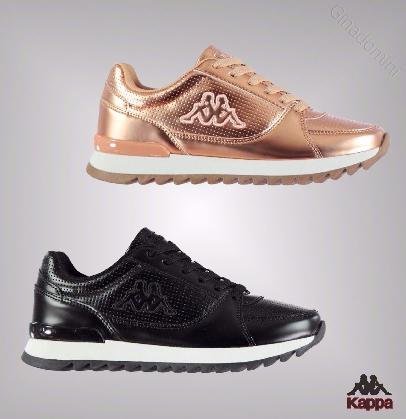 4 Annata Contrasting Ladies Branded Shoes Kappa Gym Up Lace Trainers wHxzxpqa4R