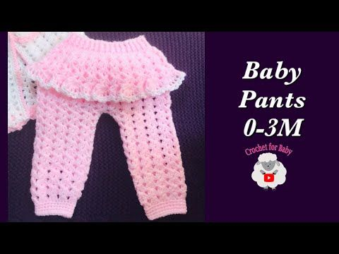 Photo of How to crochet newborn baby girl pants | leggings trousers with ruffles 0-6M – Crochet for Baby #185