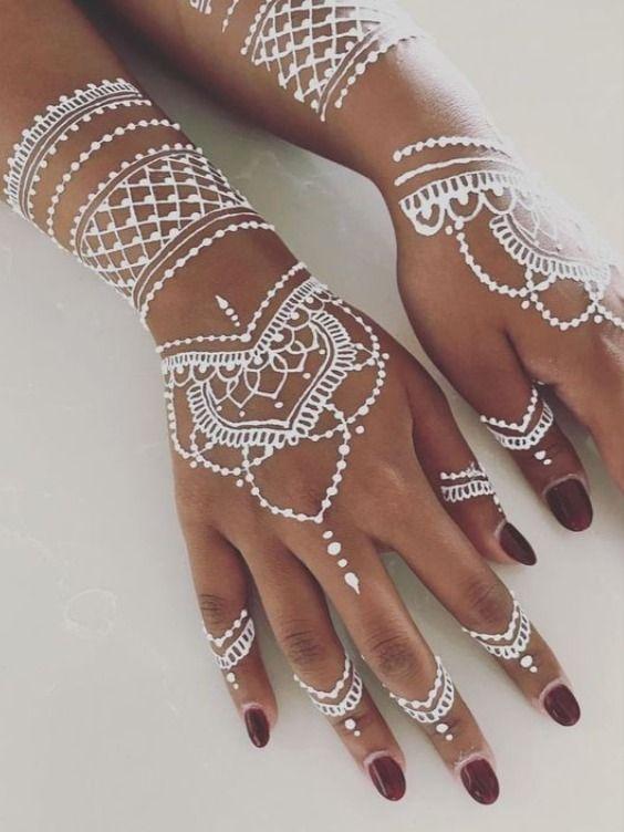 White Henna Lace Body Temporary Tattoo