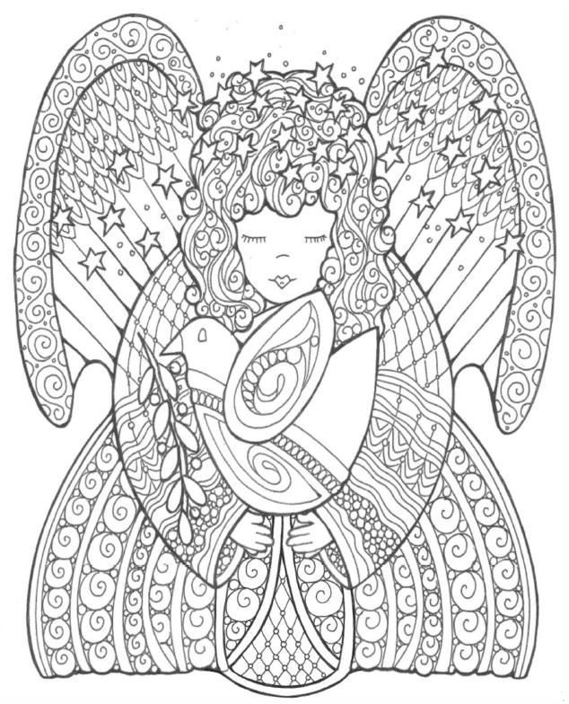 Celestial Angel of Peace Coloring Page | Adult coloring, Angel and ...