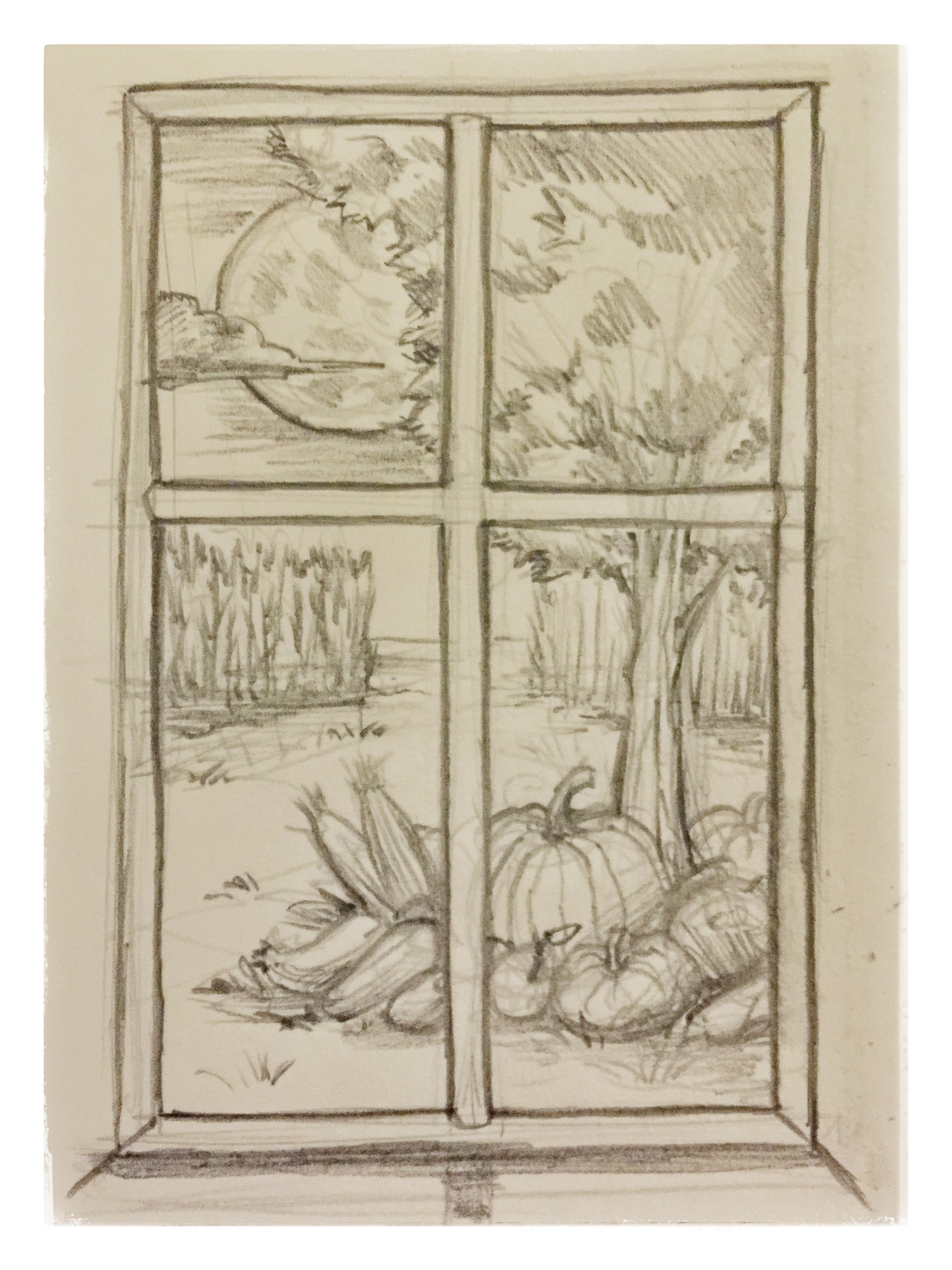 22 window view sketch doodle harvest fall autumn draw daily drawing pencil mikephillipsart