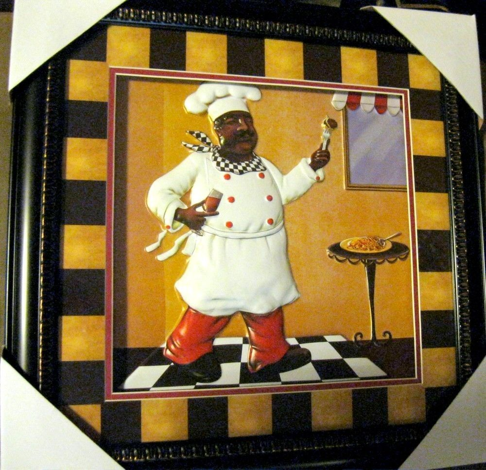 African American Fat Chef Home Decor Kitchen Wall Art