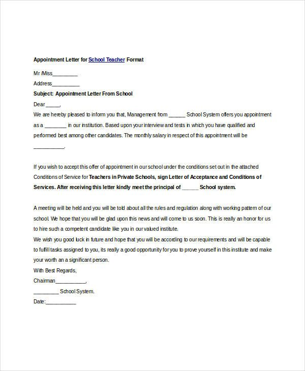free appointment letters word pdf documents download work school - doctor note pdf