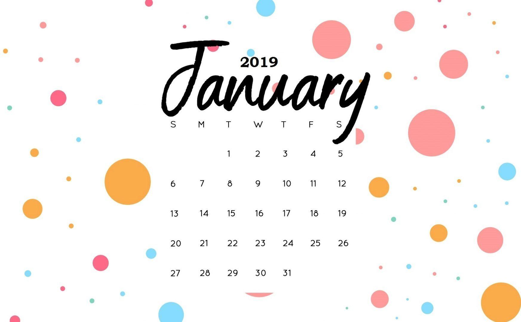Cute January 2019 Calendar Print January2019 January