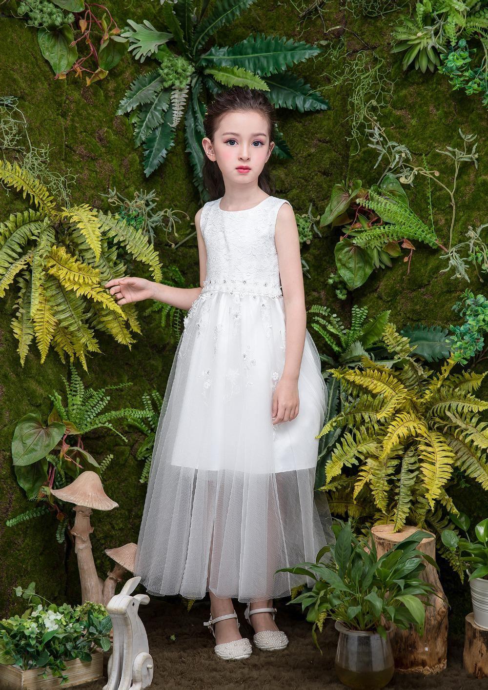Girls long dress fashion trend casual dress for girl tunic lace