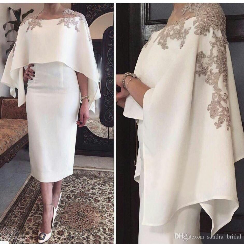 Elegant mother of the bride dresses tea length sheer neck beaded