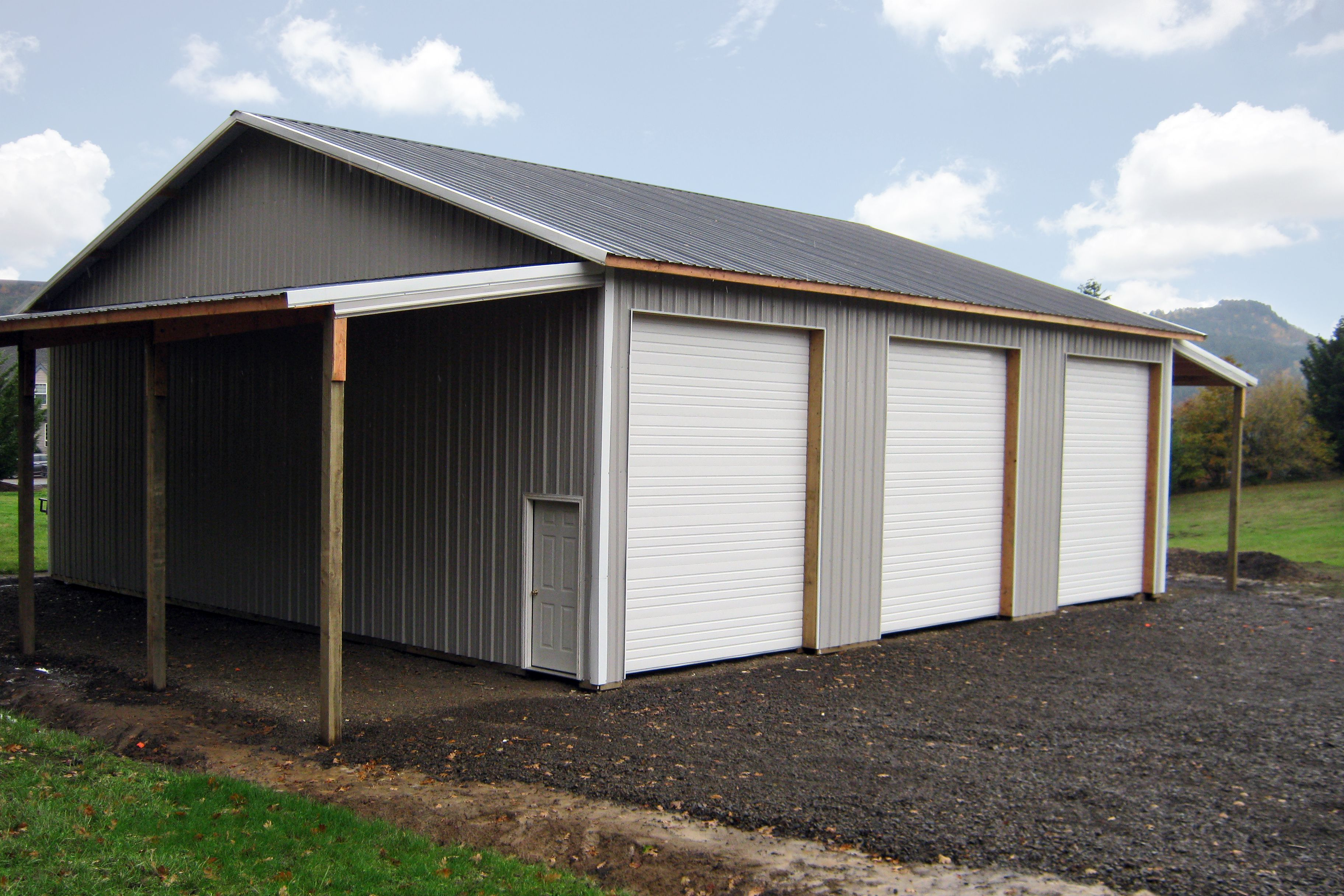 48 X 48 X 16 Pole Building With 3 Overhead Doors And 2 Lean