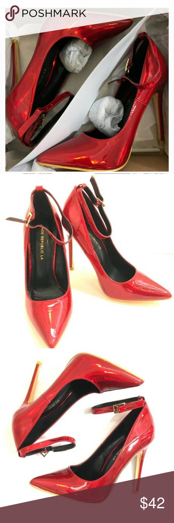Shoe republic la holographic hologram red heels everyday shoes