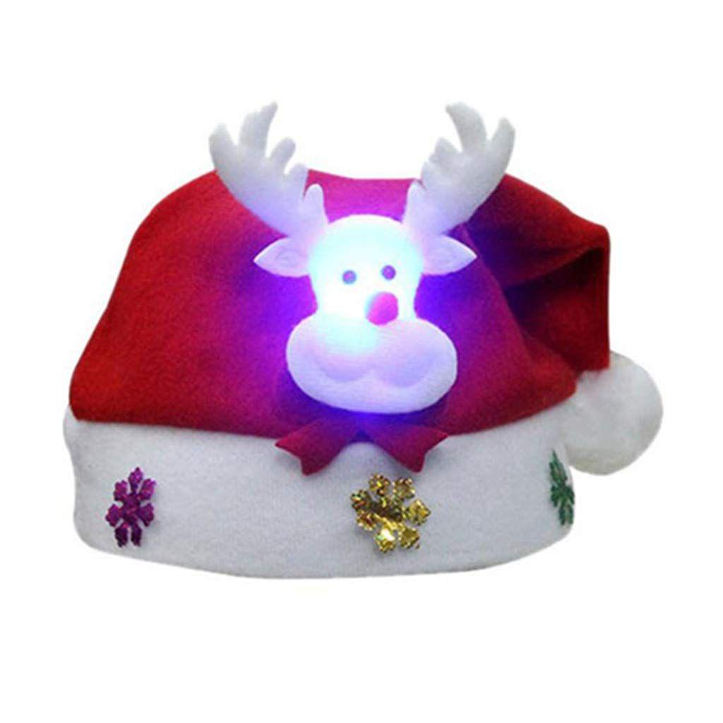 Kids LED Light Christmas Hat Santa Claus Reindeer Snowman Xmas Gifts Cap