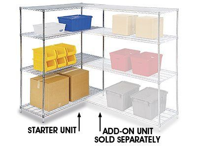Adjustable Open Wire Shelving Unit 36 X 12 X 72 Chrome By Uline 145 00 Adjustable Open Wire Shelving 4 Wire Shelving Units Wire Shelving Shelving Unit