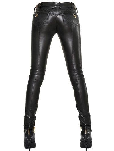 balmain nappa leather jeans luisaviaroma luxury
