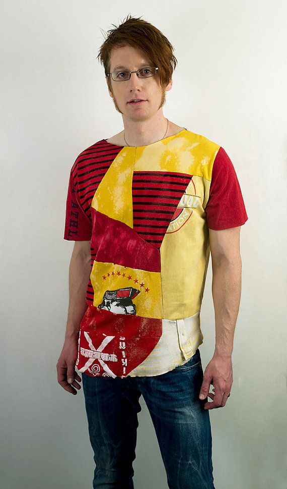 Mens eco tshirt in yellow and red Geometric by PopLoveCouture, $50.00