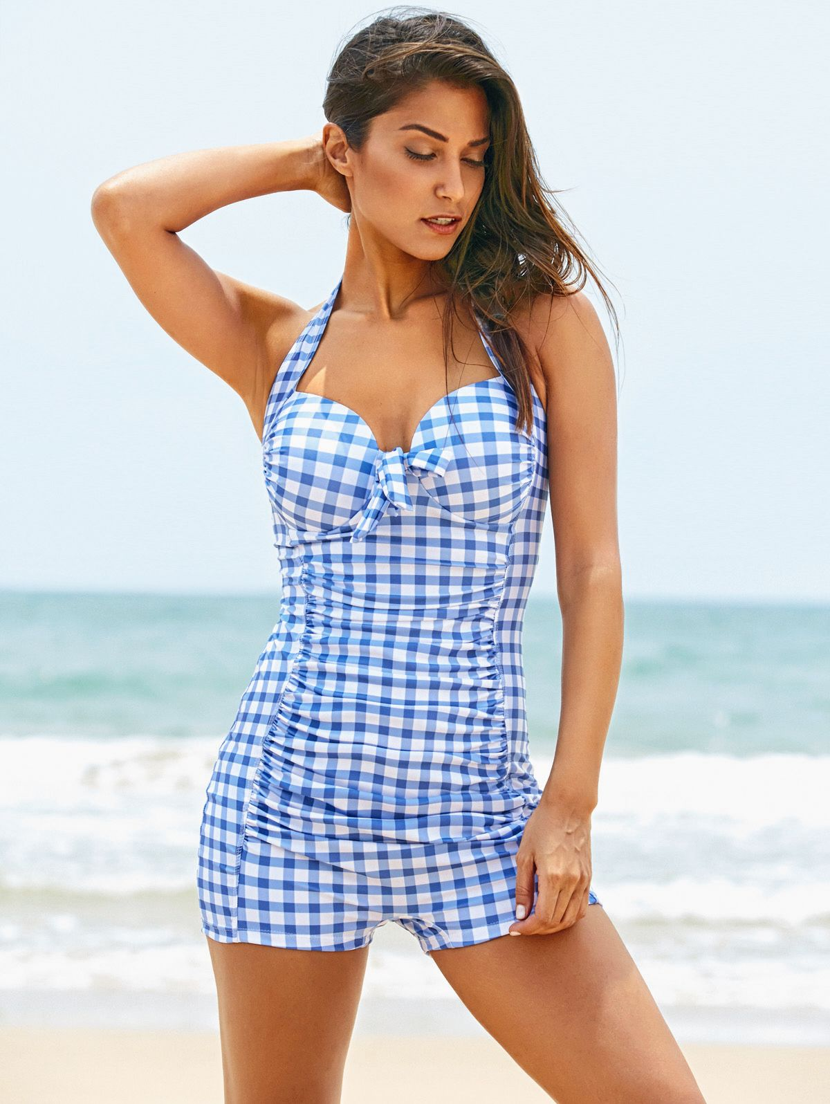 d20cb0eb5f7ef6 Cute Halter Plaid Print Boy Leg One-Piece Swimwear For Women ...
