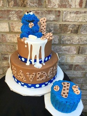 Cookie Monster Cake BC-104 CUSTOM CAKE Cookie Monster 1st Birthday Cake Confection Perfection Cakes - Online ordering