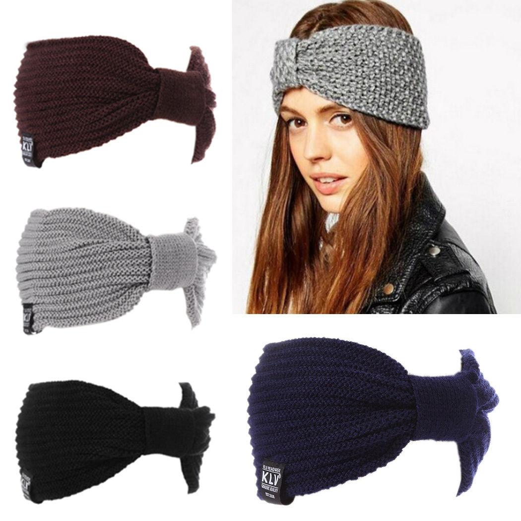 aa027b9e9d4 Winter Women Ear Warmer Fashion Crochet Headband Knit Flower Hairband Dy