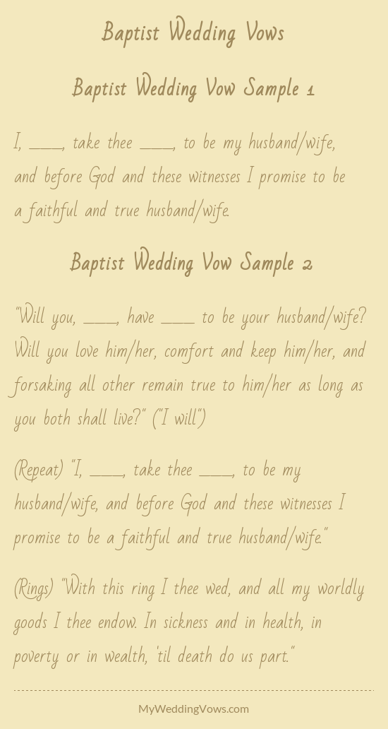 Baptist Wedding Vow Sample 1 I Take Thee To Be My Husband Wife And Before These Witnesses Promise A Faithful True