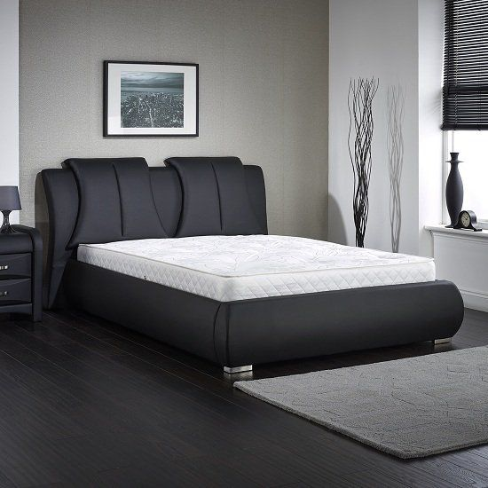 Azari King Size Bed In Black Faux Leather Finish Black Faux