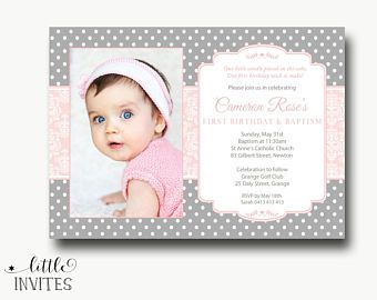 First Birthday And Baptism Invitation Etsy Invitations Christening Birthdays One