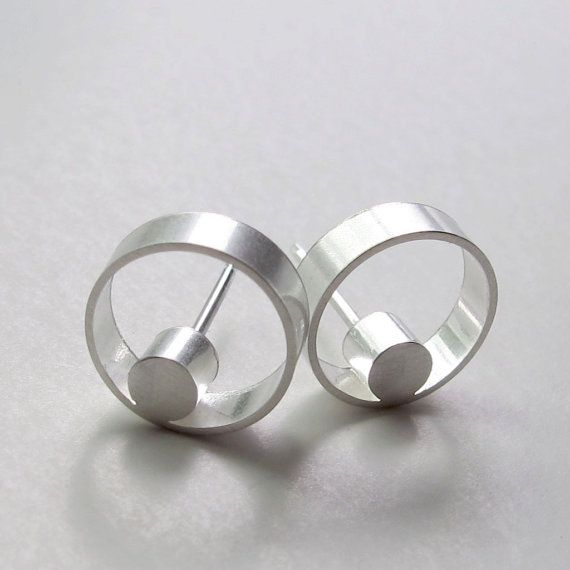 Faunia Earrings Modern Silver Circle Studs Contemporary Jewelry By Wroxdesign
